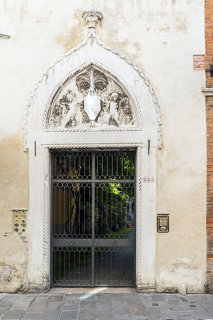 Venice, Veneto  Italy- May 20, 2017: Typical Venetian portal on the street called Rio Tera Lista di Espagna