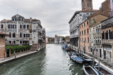 rialto: Venice, Veneto  Italy- May 20, 2017: View of the canals from the bridge called Delle Guglie