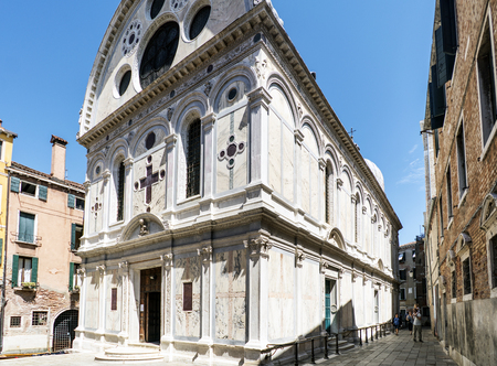 Venice, Veneto  Italy- May 21, 2017: Church called Santa Maria dei Miracoli in the square called Campo Santa Maria Nova in the oldest part of the island of Venice Editorial
