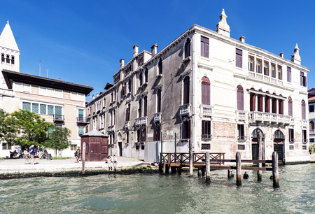 rialto: Venice, Veneto  Italy. May 21, 2017: Facades of houses and monuments seen from the Grand Canal of Venice