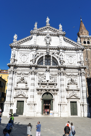 Venice, Veneto  Italy. May 21, 2017: Facade of the Catholic church of San Moise in the square called Campo San Moise
