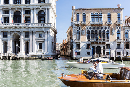 Venice, Veneto  Italy. May 21, 2017: Facades of houses and monuments seen from the Grand Canal of Venice