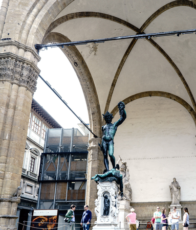 Florence, Tuscany, Italy. 23 of May of 2017: Statue of Perseus located in the Loggia of the Signoria in the square Piazza della Signoria