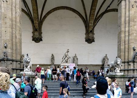 Florence, Tuscany, Italy. May 23, 2017: Statues located in the Loggia della Signoria in the square Piazza della Signoria