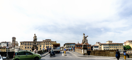 Florence, Tuscany, Italy. May 22, 2017: Beginning of the bridge over the river Arno called Santa Trinita