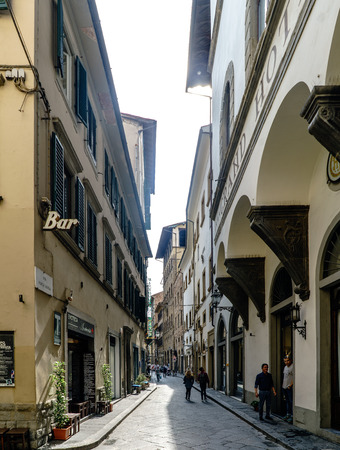 View of the beginning of the street called Via Porta Rossa Editorial