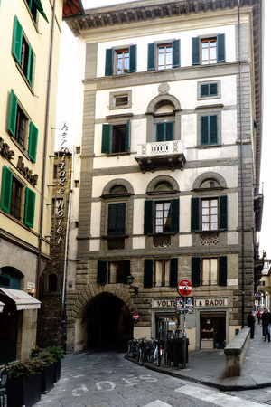 Florence, Tuscany, Italy. May 22, 2017: Typical square and house of Florence in the street called Lugarno degli Archibusieri Editorial
