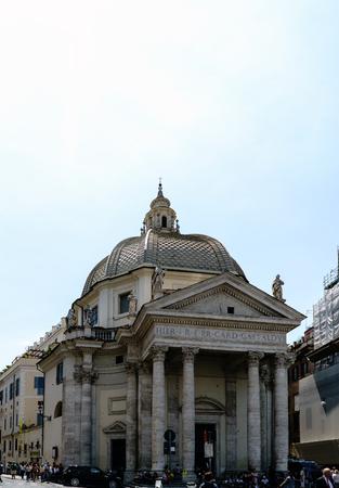 Facade of the Catholic church called Chiesa di Santa Maria dei Miracoli seen from the town square, in Italian dei popolo