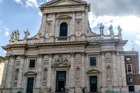 touristy: Main facade of the Catholic church called San Giovanni de Fiorentini located in the Golden square (piazza delOro)