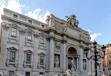 Panoramic view of the fountain called Fontana di Trevi, one of the most visited places in Rome and with the Trevi Square always full of tourists. In Rome, Italy