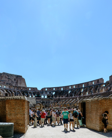 Rome, Lazio, Italy. July 25, 2017: Interior views of the Roman Coliseum with many people visiting the interior