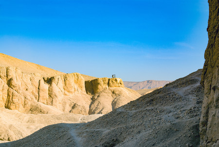 Place of vigilance of the valley of the kings in Egypt on a hill. Police post empty