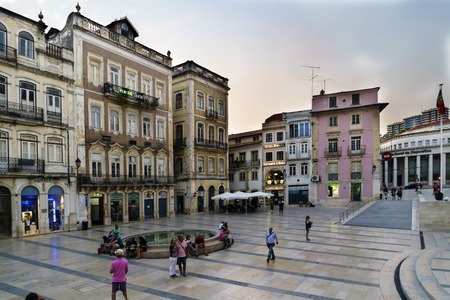 Coimbra, Portugal, August 13, 2018: Square called May 8 located in the lower part of the city within the old town, with people strolling