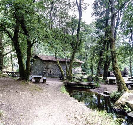 Old stone rural house next to a small river with a wooden bridge, a table and wooden bench in a glade of a typical Atlantic forest with trees with their trunks covered with ivy in Galicia, Spain
