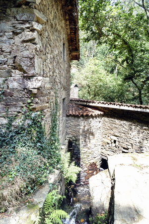 View of the walls of a rural stone house typical of the villages of Galicia, Spain 写真素材