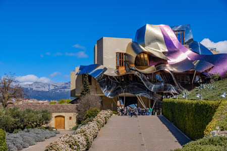 Elciego, �lava, Spain. April 23, 2018: new building designed by the architect Frank O. Gehry, for the Hotel Marqu�s de Riscal winery, with metallic undulating structures