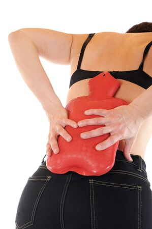 w�rmflasche: Junge schlanke Frauen hat R�ckenschmerzen