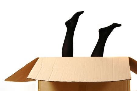 precipitate: Legs of a young woman looking out of a cardboard box