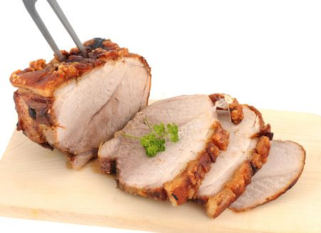 Typical Bavarian roast pork in a studio shot Stock Photo