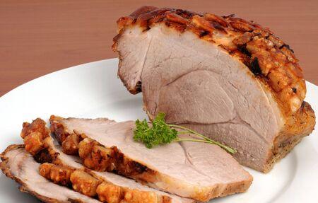 Typical Bavarian roast pork in a studio shot Stock Photo