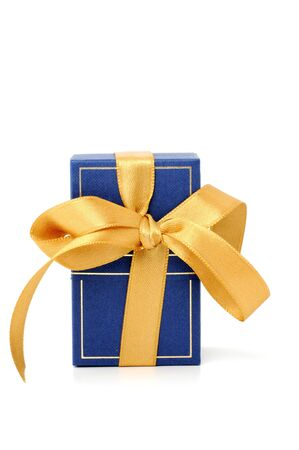 Gift box in front of a white background photo