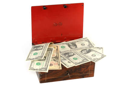 lockbox: Cash box with US-Dollar in front of a white background Stock Photo