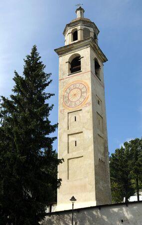 jetset: The legendary leaning tower of St. Moritz in Switzerland Stock Photo