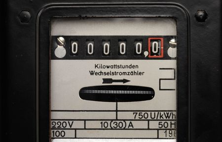 electricity meter: Old electricity meter in front of a white background Stock Photo