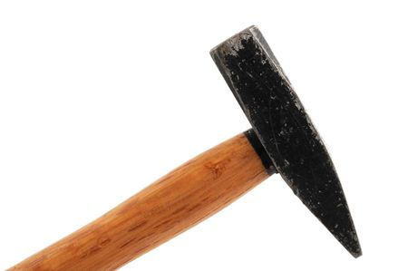 whack: Old hammer in front of a white background