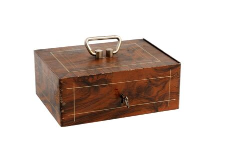 lockbox: Cash box in front of a white background