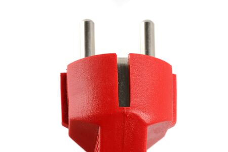 whote: Electric plug in front of a whote background Stock Photo
