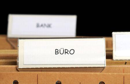 Hanging file folder, Buero means office