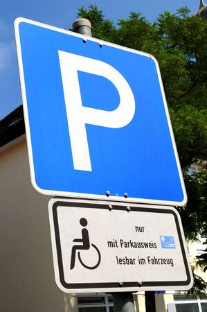 Sign for disabled parking spot thats only allowed with a special handicapped id Stock Photo - 5155703