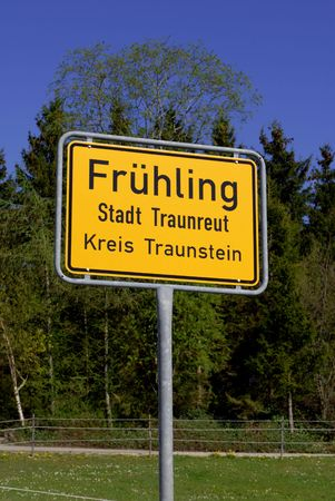 Placename sign of Fruehling means spring in german language Stock Photo - 5407820