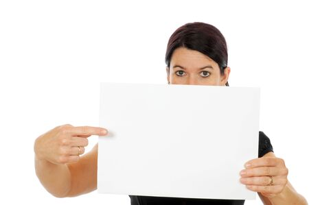 A young woman is showing a piece of papier Stock Photo - 5404856