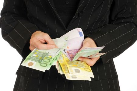A young woman with Euro banknotes in her hand photo