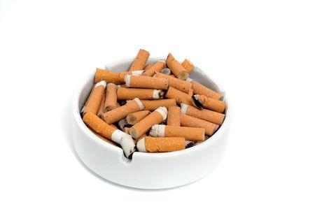 Ashtray with cigarette photo
