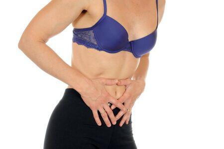 abdominal pain: Femmina giovane Slim ha dolori addominali