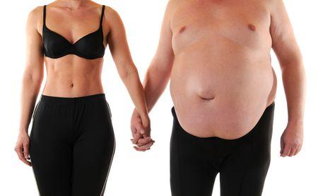 hombre flaco: Joven mujer debajo de un hombre muy gordo