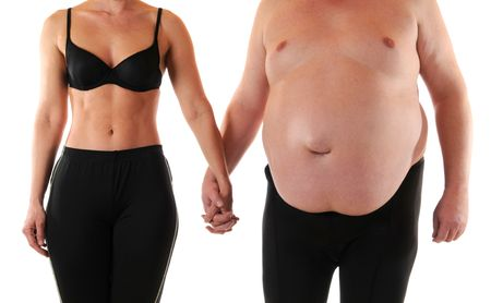 belly fat: Young woman beneath a very fat man