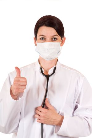 Young doctor with thumb up  Stock Photo - 5717684