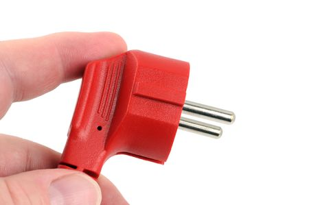 electric plug: Electric plug in front of a whote background Stock Photo