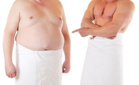 hernia: Sporting man beneath a very fat man
