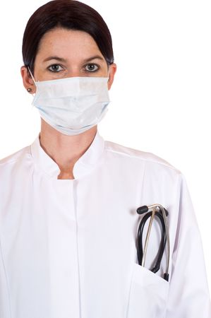 Female doctor with stethoscope in front of a white studio background Stock Photo - 6116084