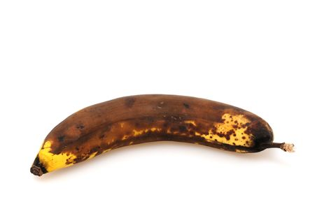 moulder: Overripe banana in front of a white background Stock Photo