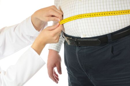 Tape measure at a very thick man  Stock Photo