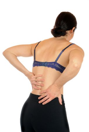 back ache: Young slim female has backache Stock Photo