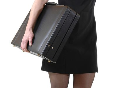 eyecatcher: Young slim business woman in mini skirt
