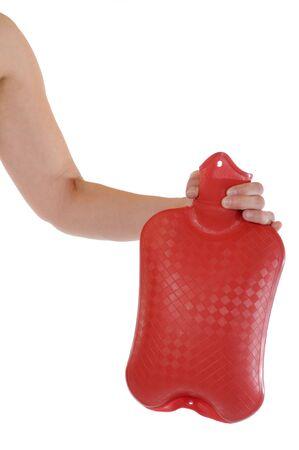w�rmflasche: Hand einer jungen Frau mit einer lesen Hot ? Wasser Tasche  Lizenzfreie Bilder