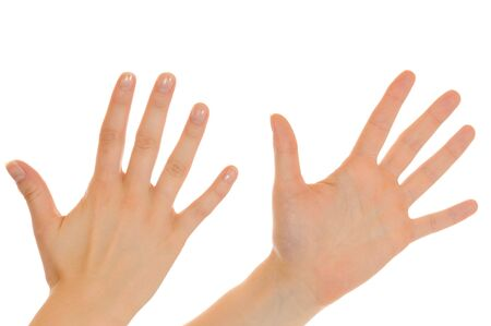 Hand of a young woman isolated on white photo